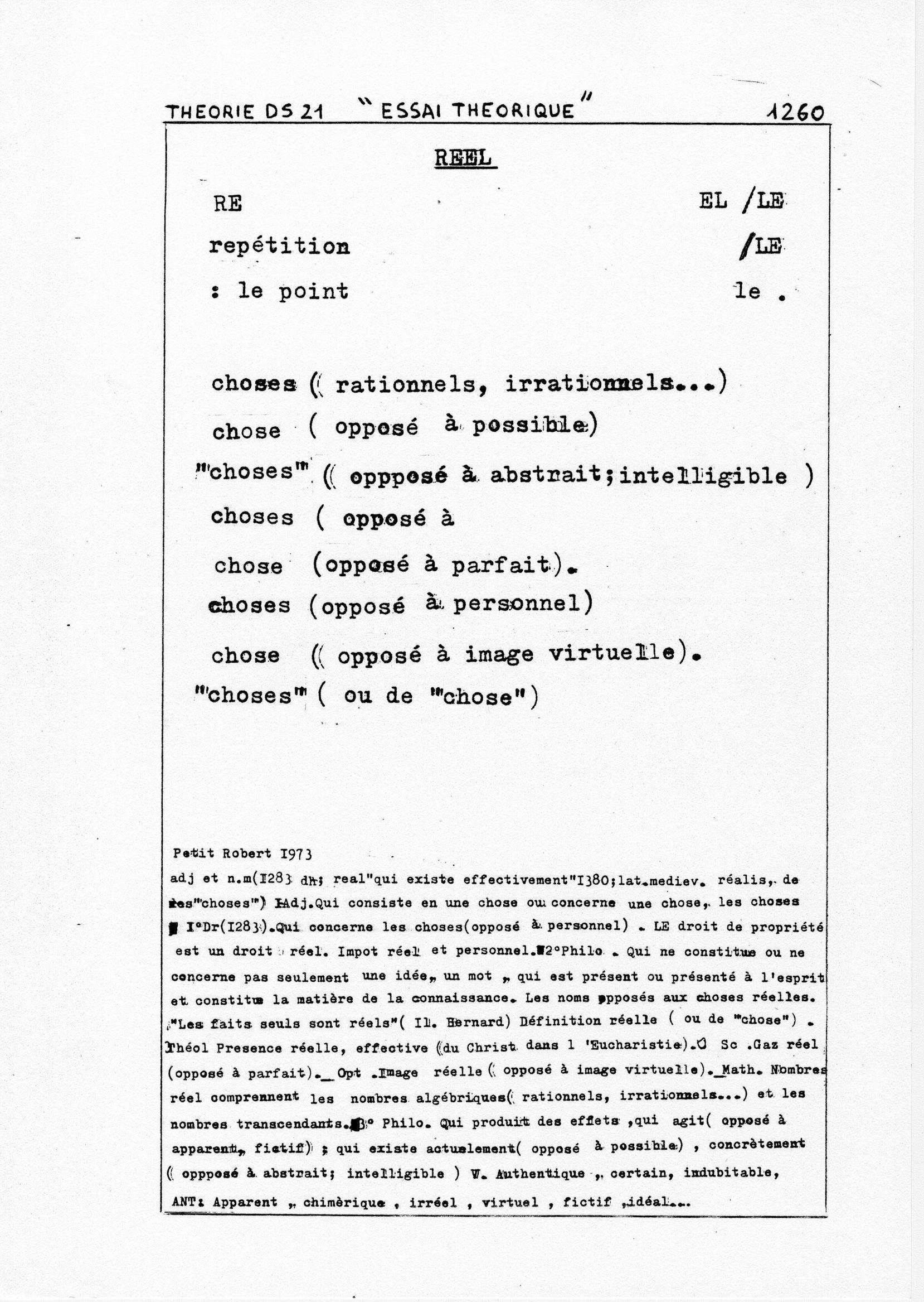 page 1260 Théorie D.S. 21 ESSAI THEORIQUE