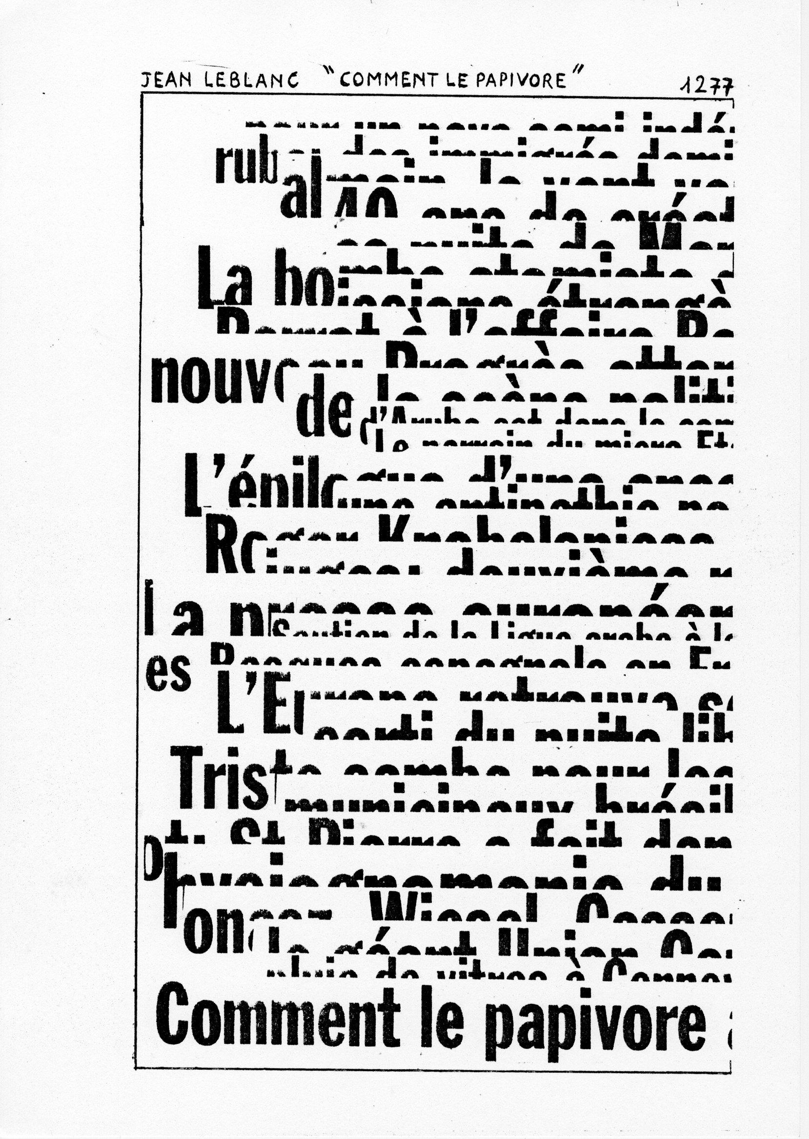 page 1277 J. Leblanc COMMENT LE PAPIVORE
