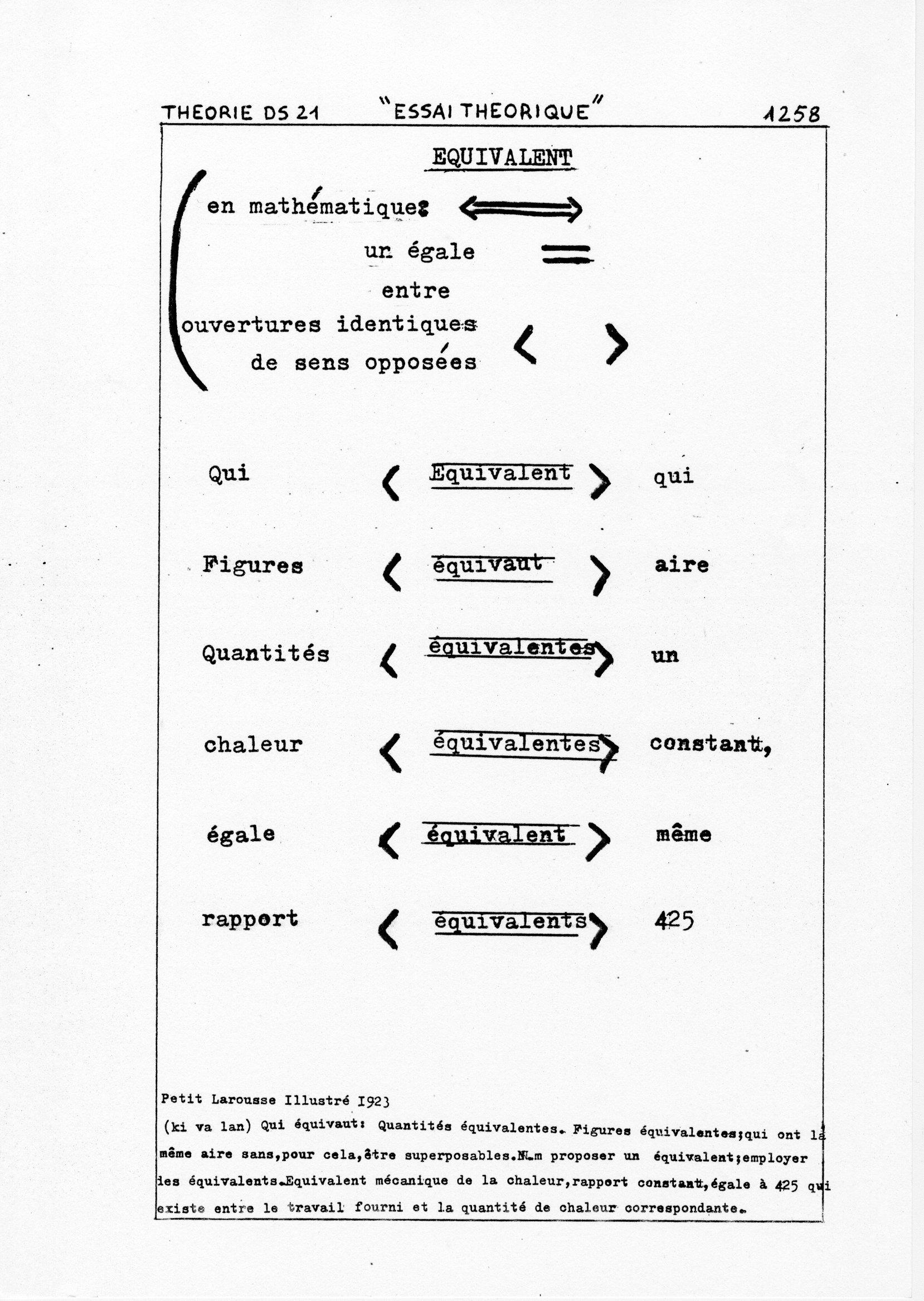 page 1258 Théorie D.S. 21 ESSAI THEORIQUE