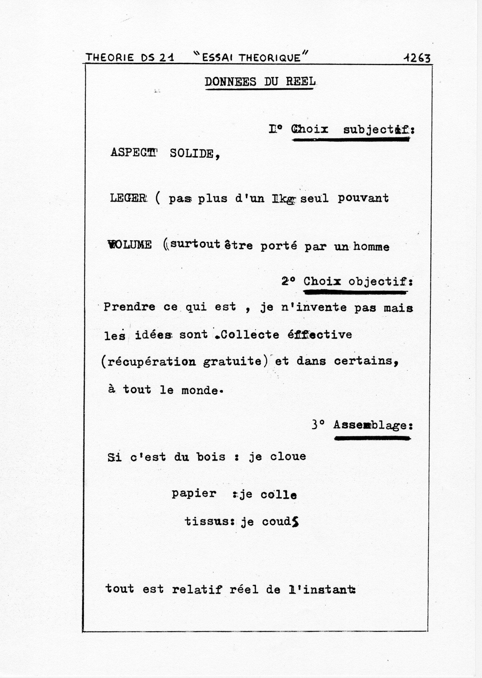 page 1263 Théorie D.S. 21 ESSAI THEORIQUE