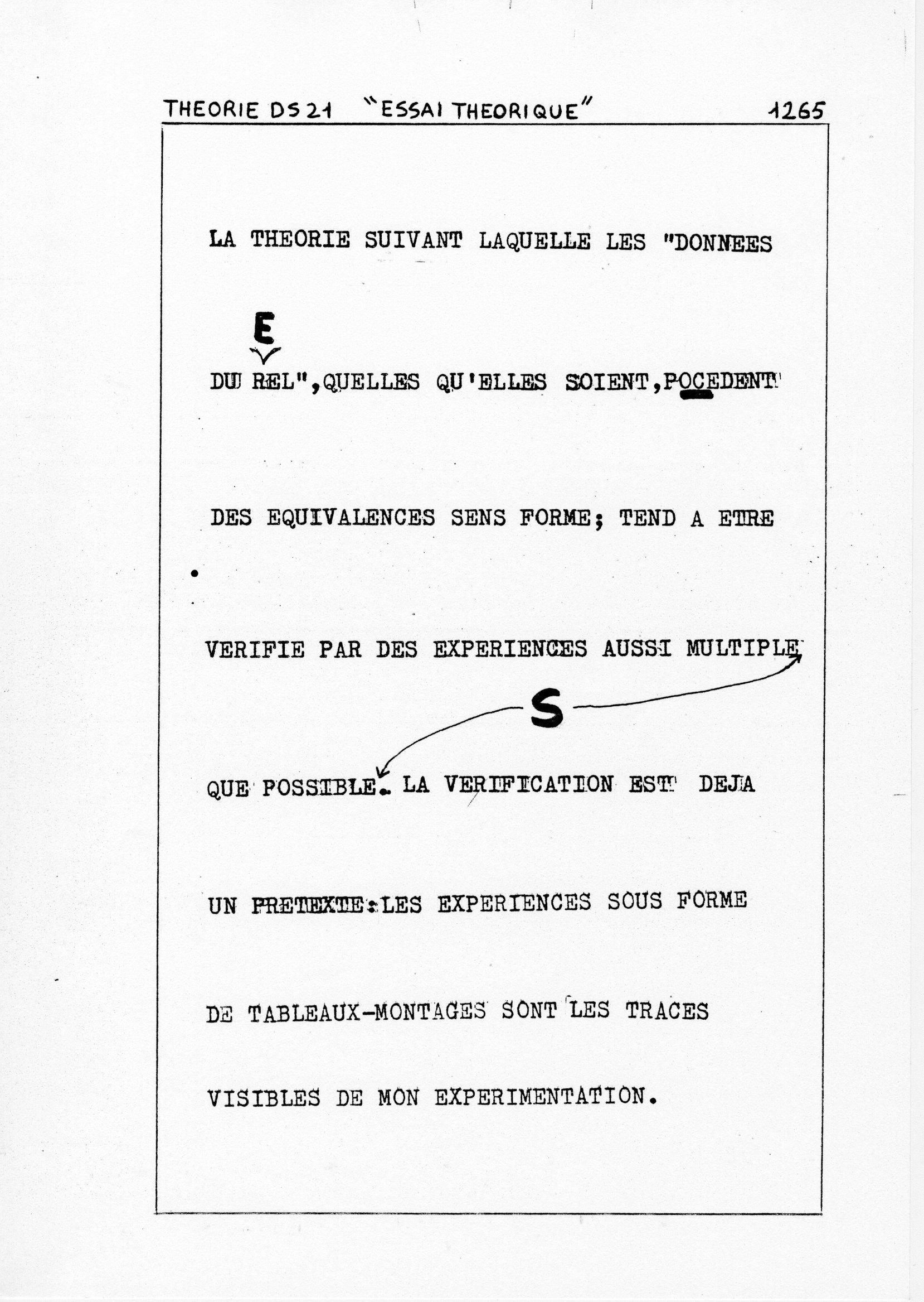 page 1265 Théorie D.S. 21 ESSAI THEORIQUE