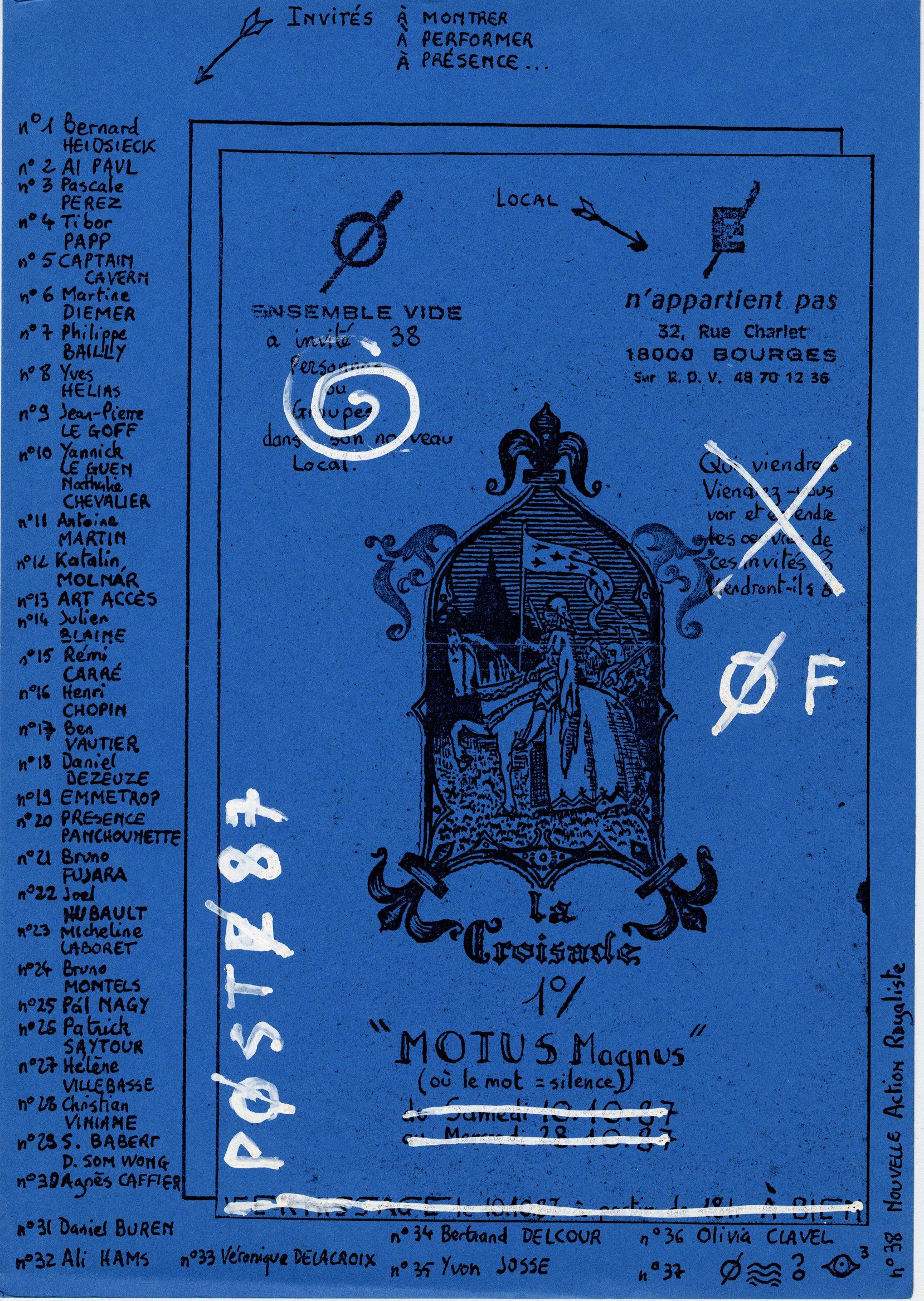 page Registre n°6 hors texte 6 invitation à l'exposition MOTU